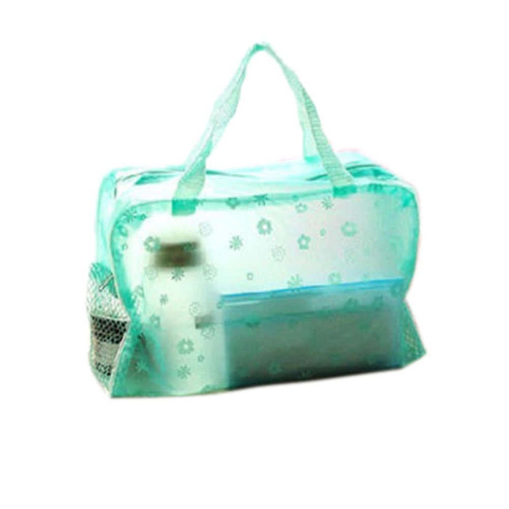 Jdbuy Multipurpose Floral Crystal Comestic Makeup Beauty Storage Travelling Bath Bag (Green)