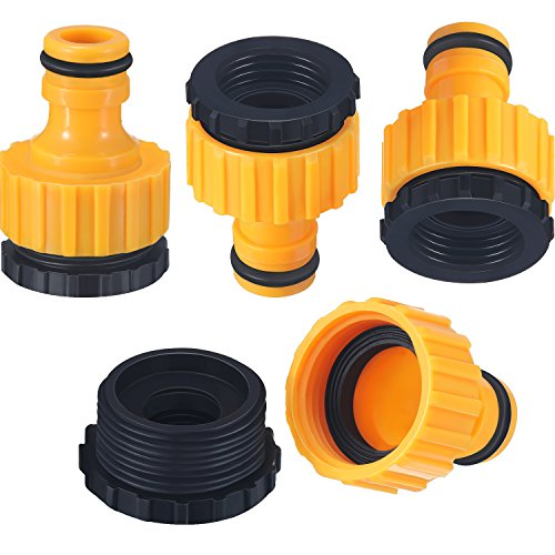 Hestya 4 Pack Plastic Garden Hose Tap Connector, 1/2 Inch and 3/4 Inch Size 2-in-1