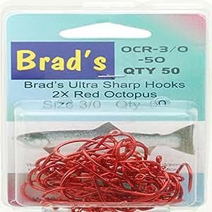 Brad's Killer Fishing Gear Octopus Fishing Hooks, Red, Size 2/0