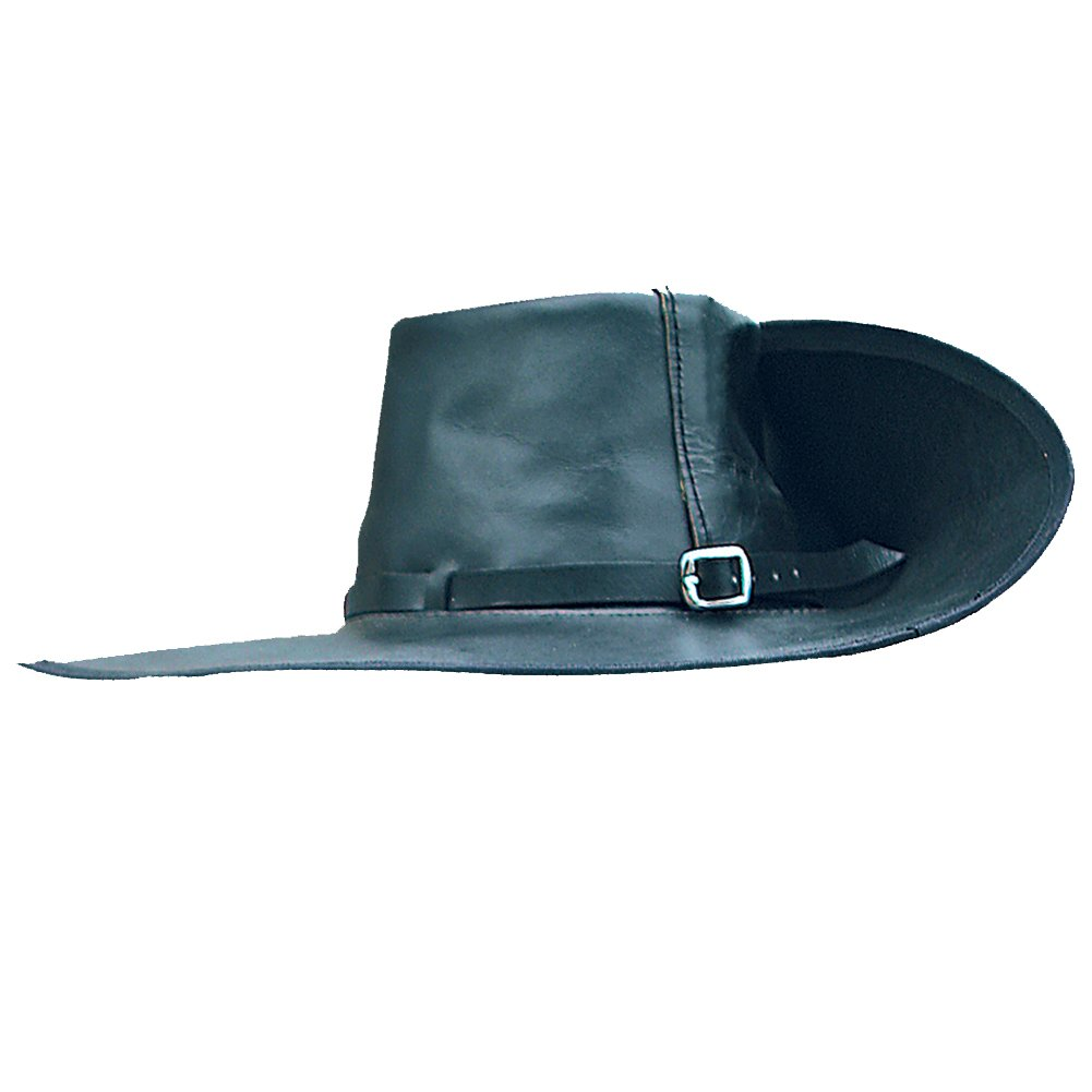 Men's Large Black Leather Pirate Cavalier Hat  by Museum Replicas