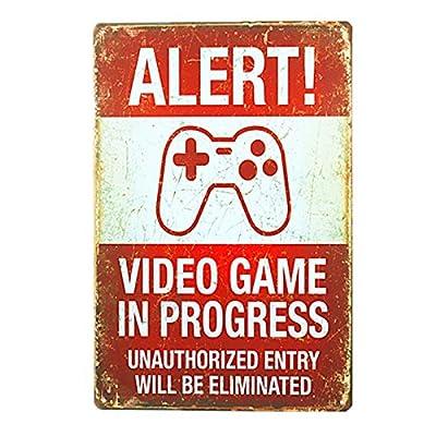 "dingleiever DL-Funny Vintage Tin Sign Alert! Video Games In Progress 8""x12"" Man Cave."
