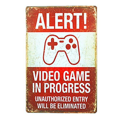 dingleiever DL-Funny Vintage Tin Sign Alert! Video Games in Progress 8