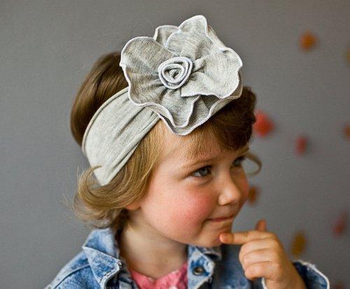 Cliquez bas 1pcs Unusal filles bébé Gris Fleur Bandeau Bandeau