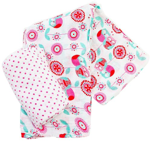 Plum Collections Pattern Cotton Muslin Squares Swaddle Wraps Love Owls Design (Pack of 2, X-Large)