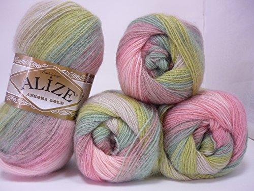 20% Wool 80% Acrylic Soft Yarn Alize Angora Gold Batik Thread Crochet Lace Hand Knitting Turkish Yarn Lot of 4skn 400gr 2408yds Color Gradient 4686 ()