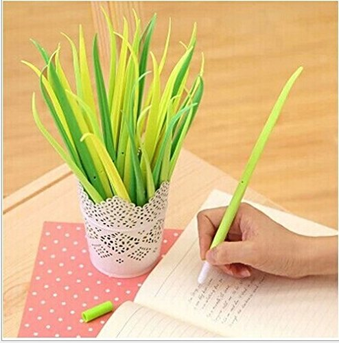 12 packs of Easyinsmile gel ink Black Pens for Student and Office with Different Shape (Silicon Grass Shape)