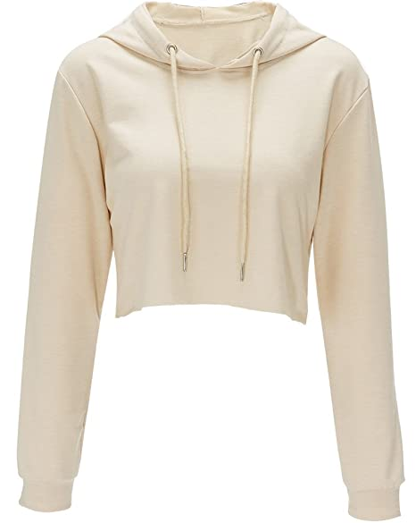 Women's Clothing Moxeay Womens Long Sleeve Hoodie Sport Crop  Sweatshirt Jumper Pullover Coat Top