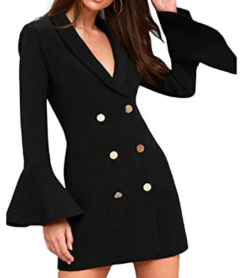 657f43a315de HAOYIHUI Women Turn Down Collar Double Breasted Flare Sleeve OL Blazer Dress (S,Black