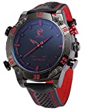 SHARK Men's LED Date Day Alarm Digital Analog Quartz Black Leather Band Wrist Watch SH261 Red