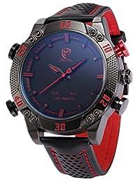 SHARK Men's Sport Red LED Date Day Display Digital Analog Quartz Black Leather Band Oversized Wrist Watch SH261