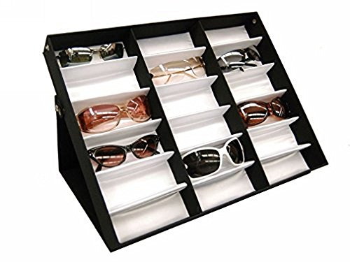 Amzdeal Sunglasses Display Case 18 Slot Sunglass Eyewear Display Storage Case Tray