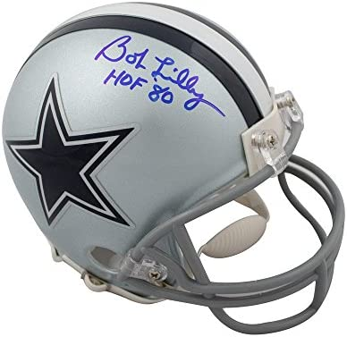 1519f928 Bob Lilly HOF Autographed Dallas Cowboys Mini Football Helmet - JSA COA