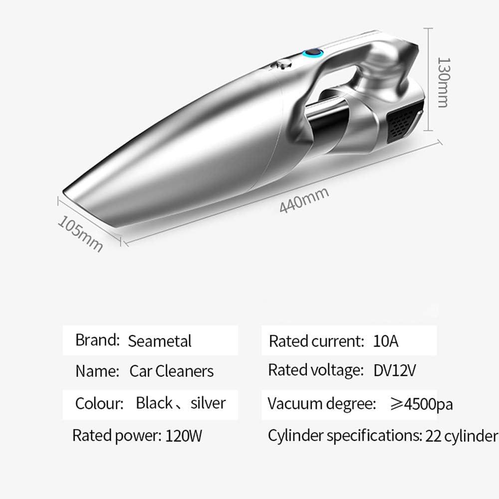 Modenny Aspirateur De Voiture 12 V 120 W 4500pa De Poche Humide Secs Portable Haute Pression Mini Rondelle Cigarette Électrique Dusty Auto Accessoires (Color : Silver) Silver