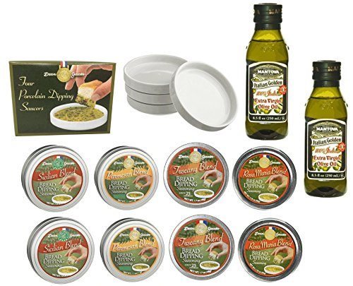 Dean Jacob's Bread Dipping Tins, Dipping Saucers with Mantova Italian Golden Extra Virgin Olive Oil - 14 ()
