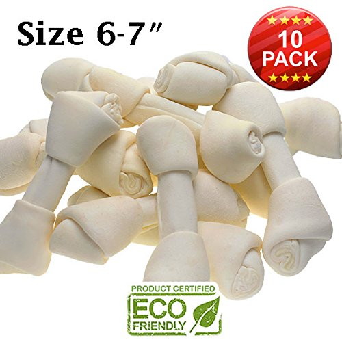 7' Rawhide Bone (Premium Knot Bones – Made With The Best Rawhide 100% Natural - No Additives, Chemicals or Hormones – Natural Grass Fed in South America - USDA/FDA Approved)