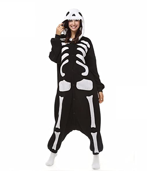 HYY@ Kigurumi Pajamas Skeleton Leotard/Onesie Halloween Animal Sleepwear Black/White Patchwork Coral