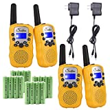 Swiftion Rechargeable Kids Walkie Talkies 22 Channel 0.5W FRS/GMRS 2 Way Radios with Charger and Rechargeable Batteries (Yellow, Pack of 4)