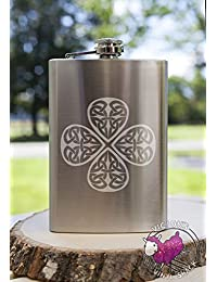 PickUp Celtic Shamrock Knot Clover 8oz Etched Metal Flask Booze Alcohol College Brewing Vodka Whiskey Whisky Rum Tequila... online