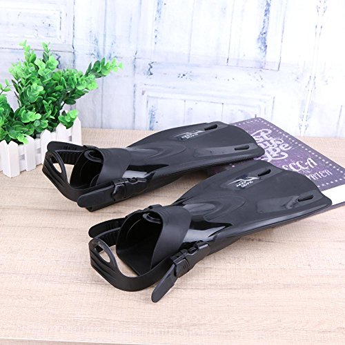 Nelnissa Unisex Short Style Silicone Adjustable Swim Fins Diving Snorkeling Flippers Black Small yzM4fNt