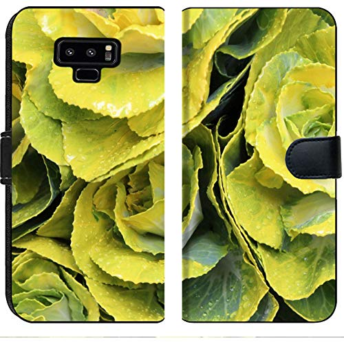 Luxlady Samsung Galaxy Note 9 Flip Fabric Wallet Case Image ID: 22962057 Yellow and Green Mini Cabbage Flowers England