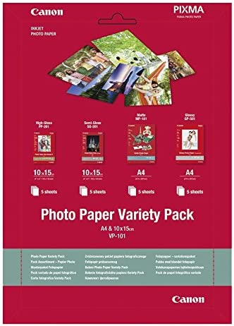 Canon 0775B079 VP-101 Musterpaket A 4, Fotopapier, 10 x 15 cm, 4 x 5 Blatt