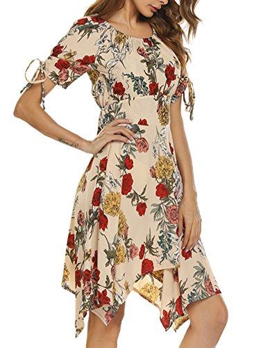 Kleid AIMADO Unregelmäßig Asymmetrisch Neck Loose O Khaki Damen Kurzarm Knielang nHHwpqr8x5