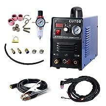 Pilot Arc Plasma Cutter - Tosense CUT50P 50A Dual Voltage 110V/220V Non-Touch Digital Air Inverter Portable Welding Equipment 1/2'' Clean Cut