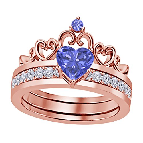14k Gold Plated Alloy Heart Shape 6MM Created Tanzanite & Cubic Zirconia Round Interchangeable Crown Engagement & Wedding Ring Set Women's Jewelry Size (Cubic Zirconia Tanzanite Jewelry Set)