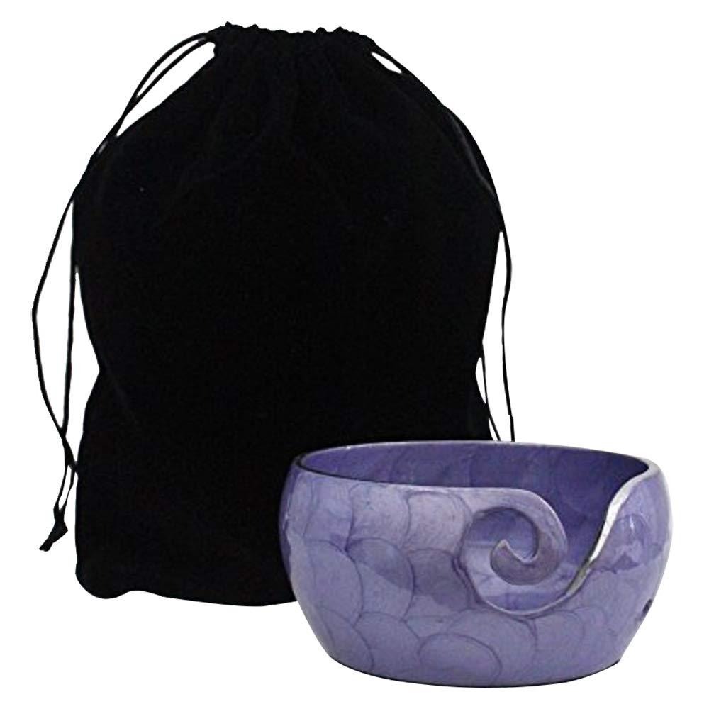 Metal Yarn Bowl Holder - Knitting Bowl with Holes Storage - Crochet Yarn Holder Bowl - Perfect for Christmas Gift! (Purple)
