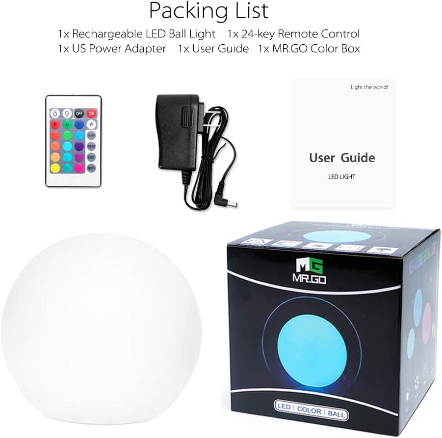 Mrgo Rechargeable Magic Color Led Globe Light Lamp Orb With Remote Control Dimmable Eye Protectioncare Efficient Desk Lamp Children Kids Bedside