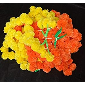 Nexxa 5 Pack Yellow Orange Artificial Marigold Flower Garlands/5 ft Long- for use in Parties, Celebrations, Indian Weddings, Indian Themed Event, Decorations, House 36