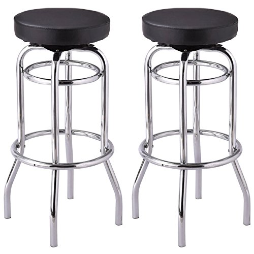 Set of 2 Round Bar Stools Backless Seat Swivel Stools Pub Bar Kitchen Home Office Furniture/ Black #1014 (Destin Fl One Pier)