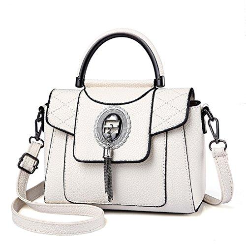 Blanco de Luckywe moda bolsa mensajero metal Crossbody bolso mujeres Botón del bolsos cuero Diseñador 55r1qwFgEO