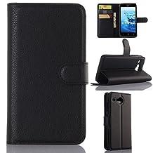 "Acer Liquid Z520 case ,Gift_Source [Black] [Stand Feature] Magnetic Snap Case Wallet Premium Wallet Case Built-in Card Slots Flip Case Cover Skin for Acer Liquid Z520 5"""