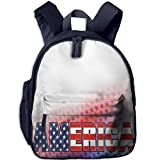 Haixia Kids' Boys'&Girls' Backpacks with Pocket American USA Flag On America Stars Background Illustration Freedom Independence Liberty Red Blue White