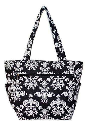 Bohemian Print Quilted Multipurpose Market Beach Large Tote Bag (Black White Damask)