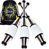 EURO PRO Juggling Clubs Set of 3 (Silver) Metallic Deco Trainer Clubs + Flames N Games Travel Bag! Great Club Juggling Set For Beginners & Advanced Jugglers!