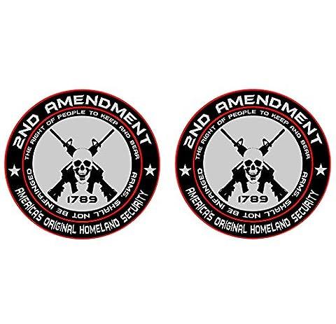 2x 2nd Amendment - America's Original Homeland Security Round Bumper Sticker Decal (5 Inch) - 2 Decal Bumper Sticker