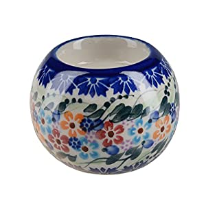 BCV Classic Boleslawiec, Polish Pottery Hand Painted Ceramic Ball, Tea Lite Candle Holder, Collection U-008
