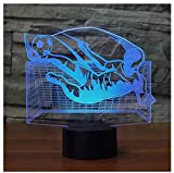 3D Flying Kick Soccer Night Light 7 Color Change LED Table Desk Lamp Acrylic Flat ABS Base USB Charger Home Decoration Toy Brithday Xmas Kid Children Gift