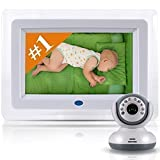 Best Video Baby Monitor -7'' screen across and total unit is 10.5'' - Premium Version - Designer Style, Feature Rich Premium High End Digital Camera with Long Range Wireless / WiFi Signal
