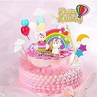 BBLIKE Decoracion Unicornio Cake con Cloud Rainbow + Star Moon + Globos de Colores + Tarjeta de Feliz Cumpleaños Kit de Decoracion Tartas Cumpleaños ...