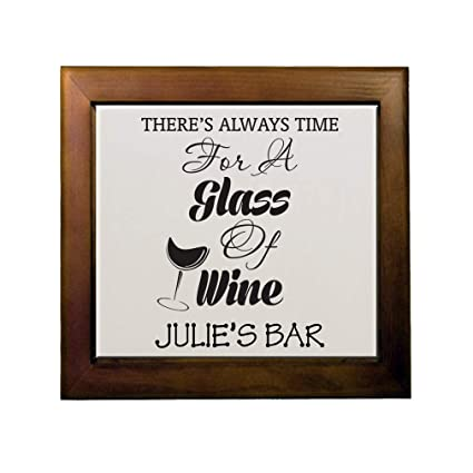 c304ab01ae76 Amazon.com: Personalized Custom Text Time for a Glass of Wine Ceramic Tile  in Wood Frame: Home & Kitchen