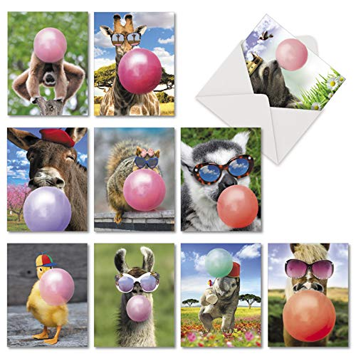 Balloon Animals: 10 Assorted Birthday Greeting Cards With Wild Creatures Blowing Big Bubbles, with Envelopes. AM6837BDG-B1x10