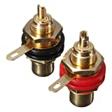 Audio Binding Post Gold-Plated RCA Chassis Panel Sockets Connectors