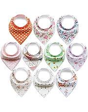 ARKFU 10er Baby Dreieckstuch Lätzchen Spucktuch Halstücher mit Verstellbaren Druckknöpfen Multifunctional, Super Absorbent & Soft Baumwoll