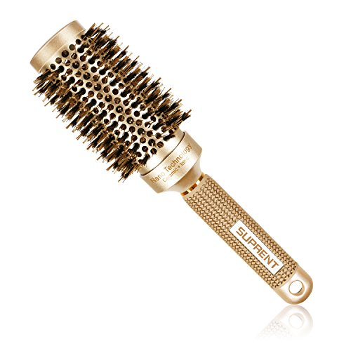 SUPRENT Blowout Nano Thermic Ceramic & Ionic Round Barrel Hair Brush with Boar Bristle, Best Roller Hairbrush for Blow Drying, Curling&Straightening, Perfect Volume&Shine (2.9 Barrel 1.7 Inch)