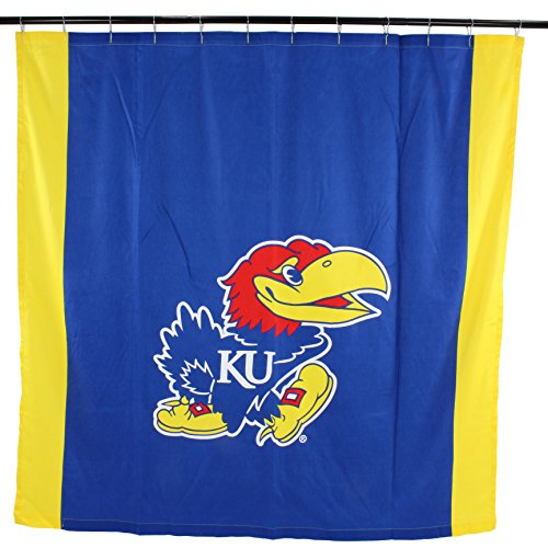 - College Covers NCAA Kansas Jayhawks Big Logo Shower Curtain, Blue, 72