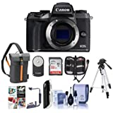 Canon EOS M5 Mirrorless Digital Camera Body Black - Bundle with Holster Case, 32GB SDHC Card, Tripod, Remote Controller, Cleaning Kit, Memory Wallet, Card Reader, Flip Flash Bracket, Software Package