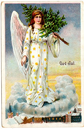 Christmas Postcard Angel Carrying a Tree on a Cloud Above a Town